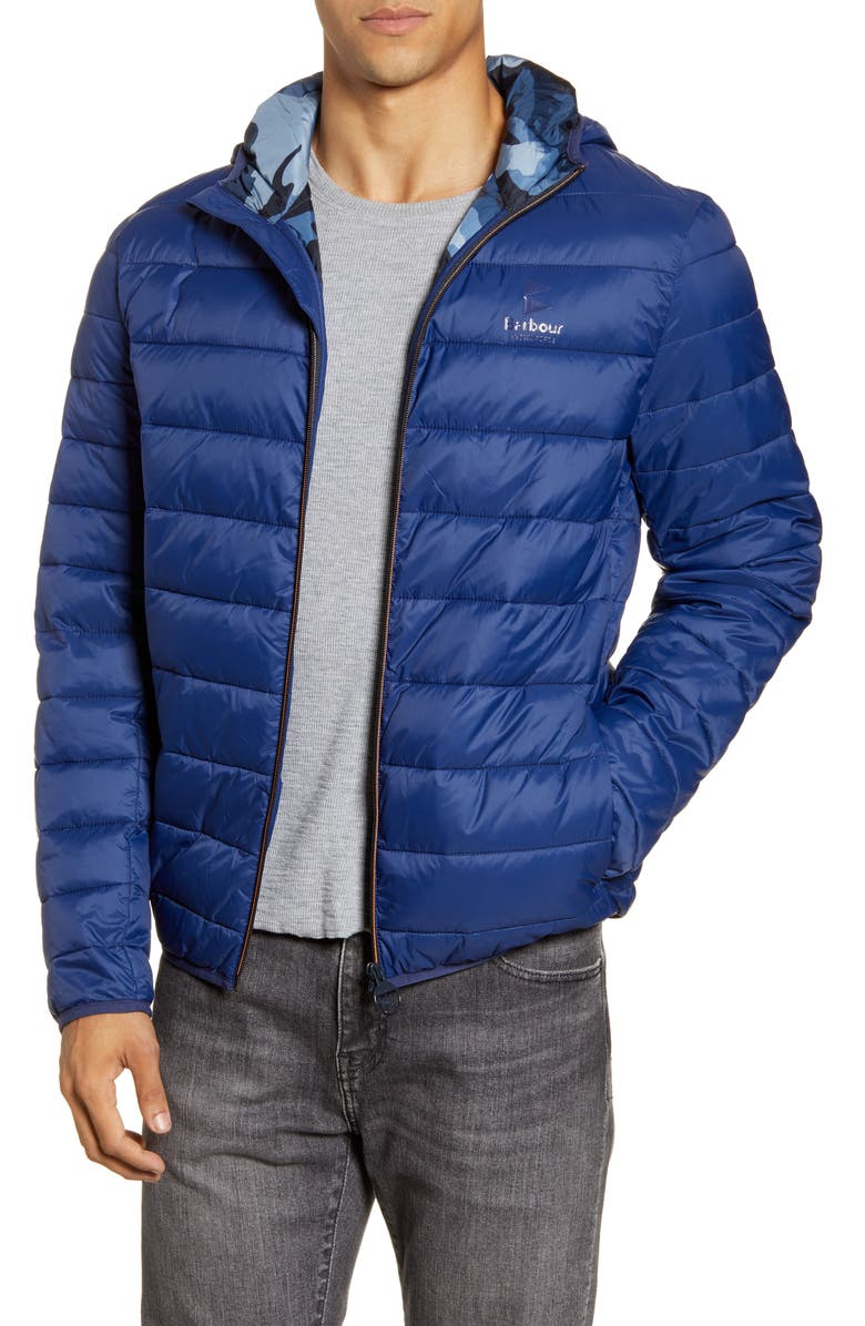 BARBOUR Harg Quilted Hooded Jacket, Main, color, REGAL BLUE