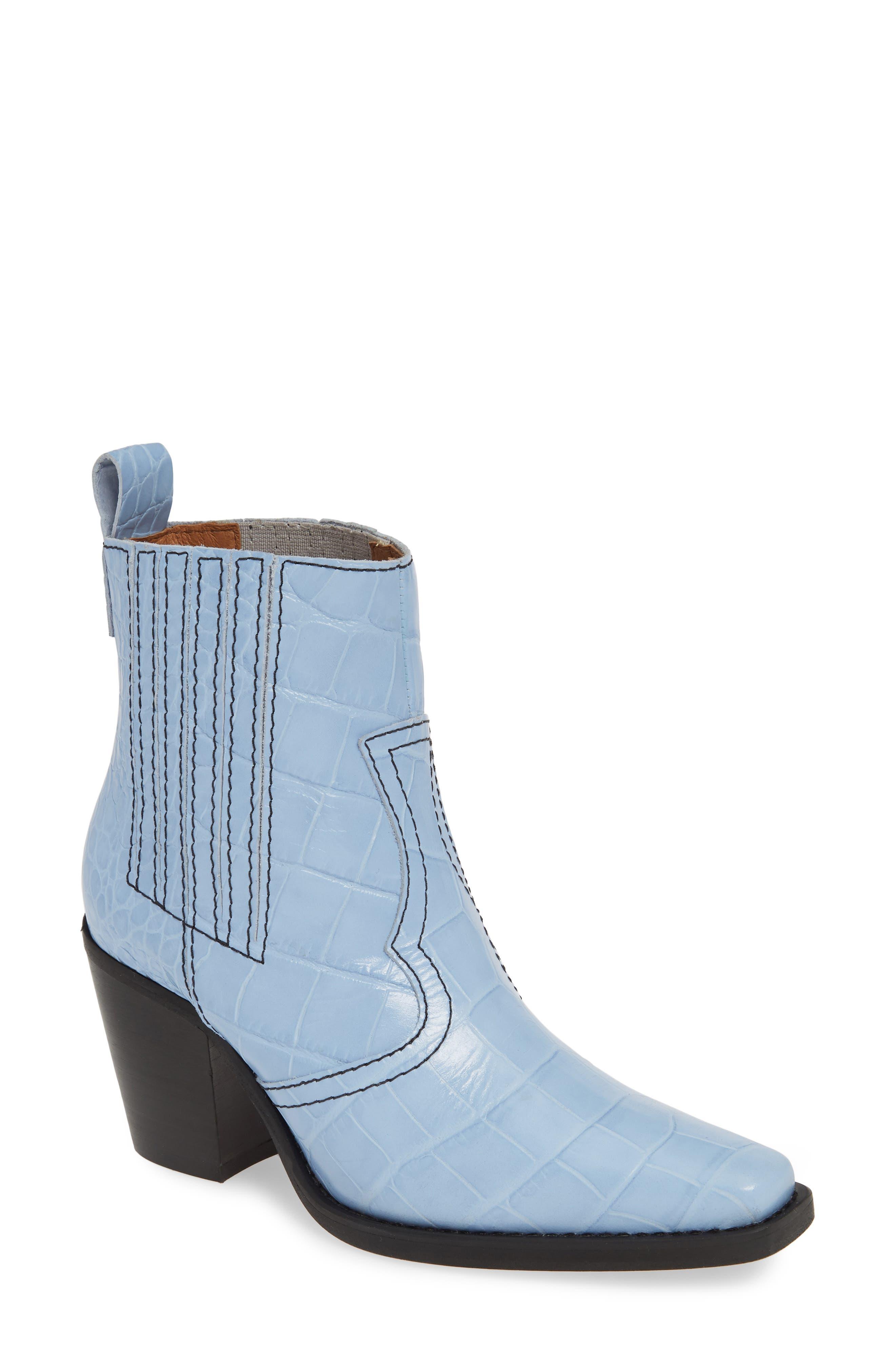 Ganni Western Bootie, Blue