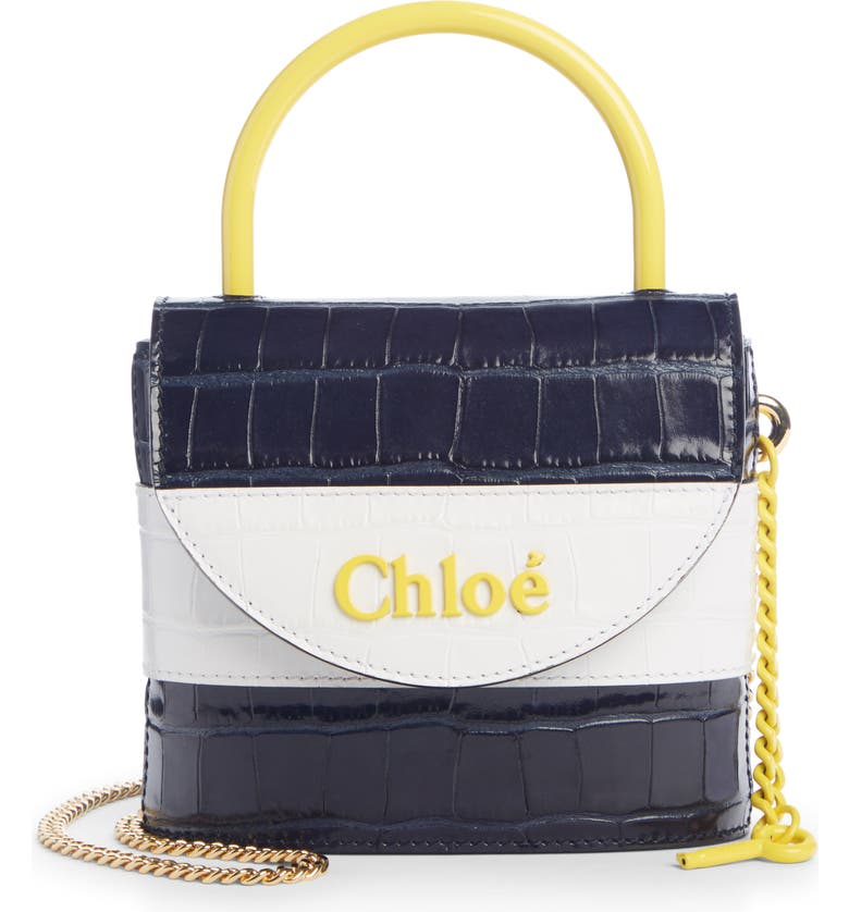 CHLOÉ Small Aby Lock Croc Embossed Leather Shoulder Bag, Main, color, FULL BLUE
