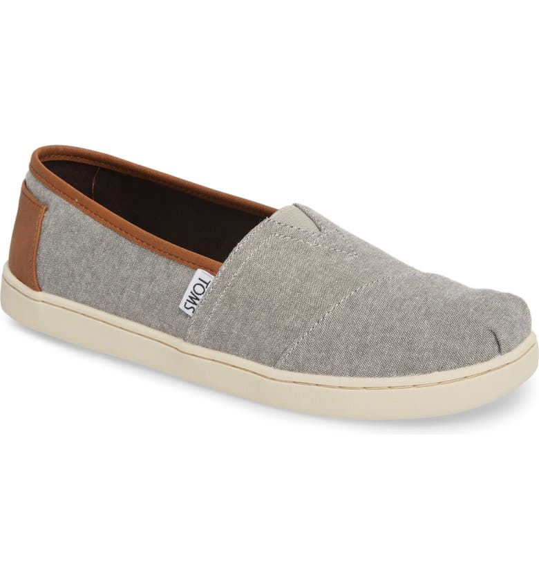 TOMS Chambray Slip-On, Main, color, FROST GREY CHAMBRAY