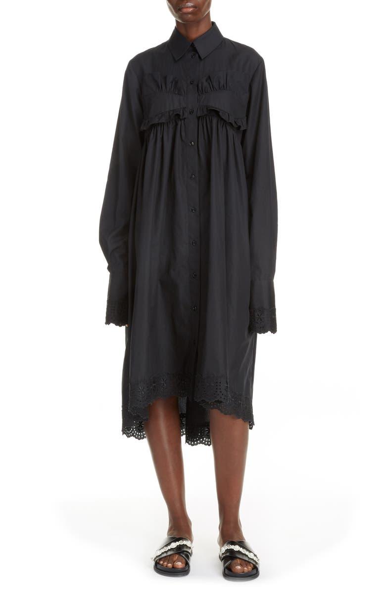 SIMONE ROCHA Ruffle Long Sleeve Cotton Poplin Dress, Main, color, BLACK