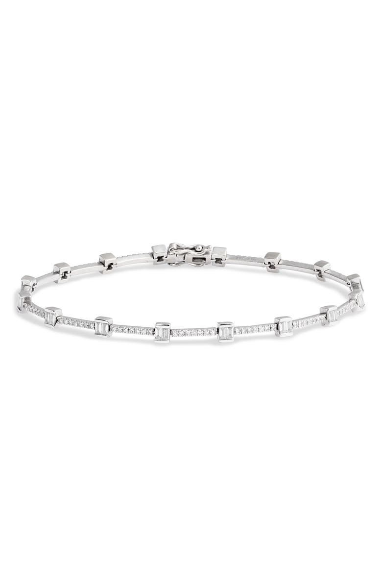EF COLLECTION Diamond Baguette Eternity Bracelet, Main, color, WHITE GOLD/ DIAMOND