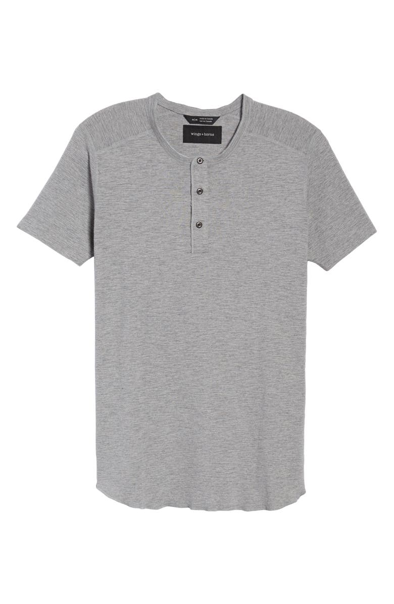 WINGS + HORNS Short Sleeve Henley, Main, color, HEATHER GREY