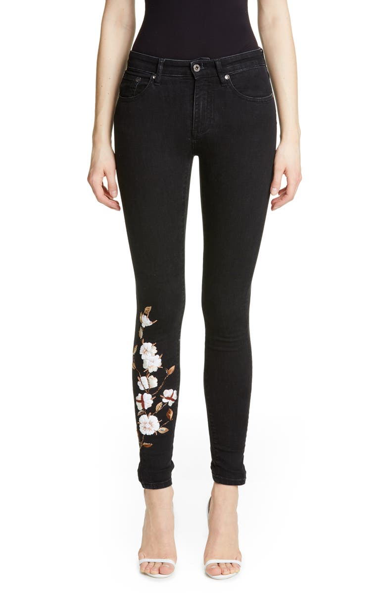 OFF-WHITE Floral Embroidered Diagonal Stripe Skinny Jeans, Main, color, 001