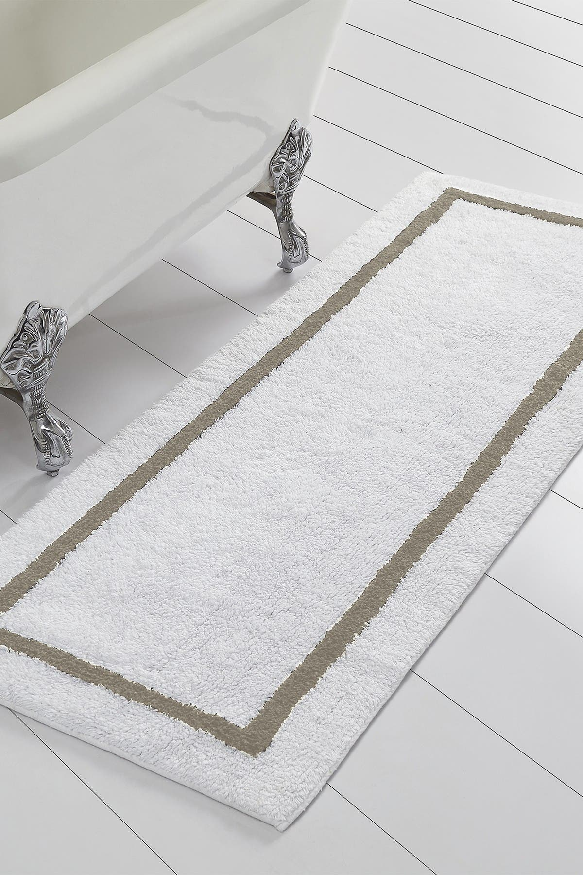 Image of Modern Threads Taupe Reversible Contrast Stripe Bath Runner