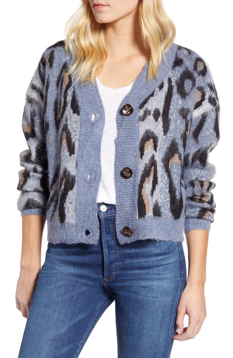 RD STYLE Leopard Jacquard Cardigan Sweater, Main, color, BLUE