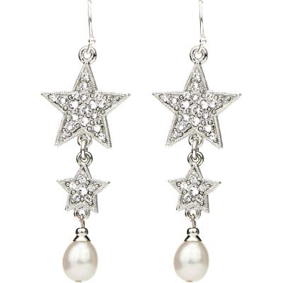 Ben-Amun Rock Star Imitation Pearl & Crystal Drop Earrings