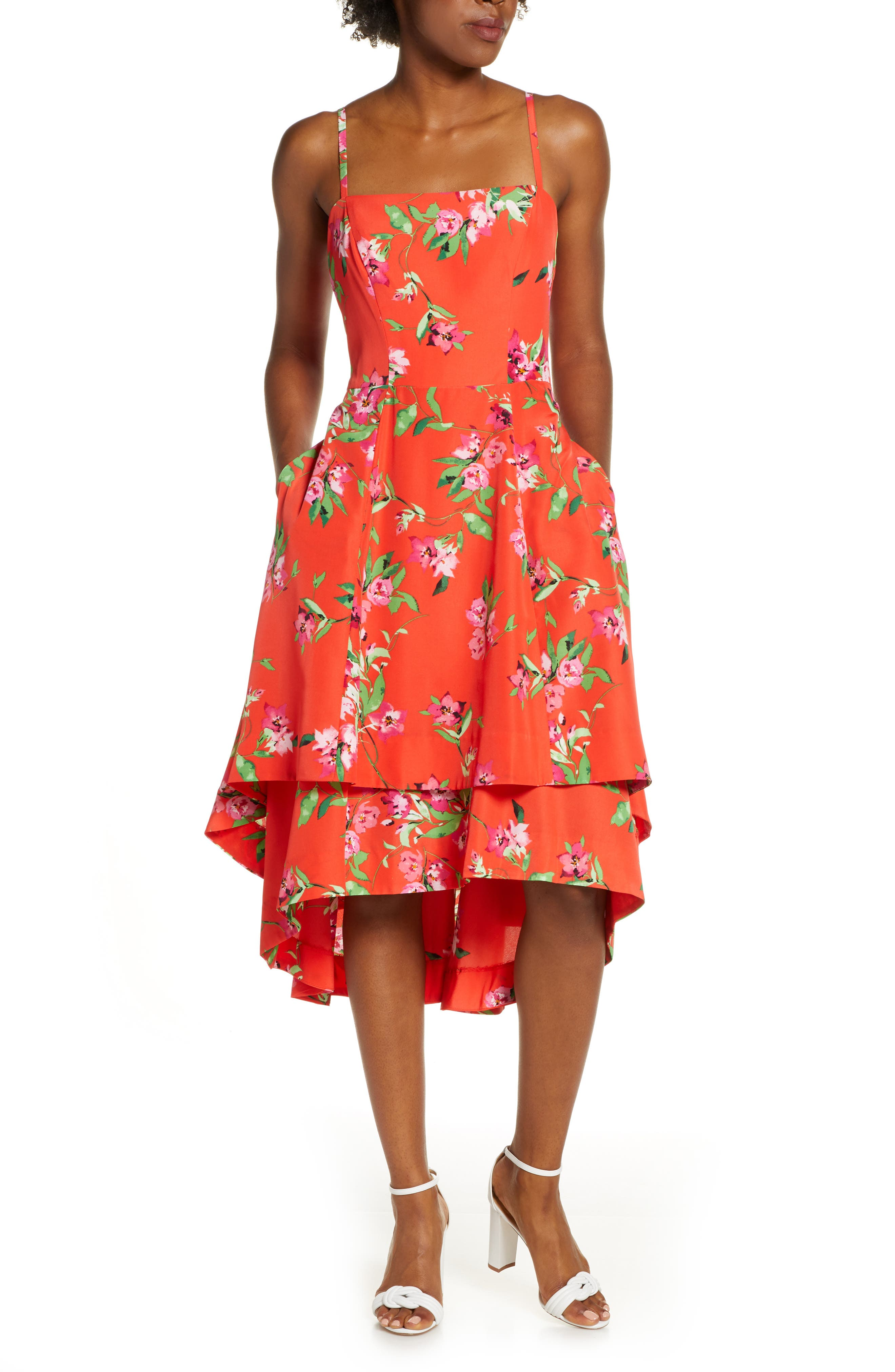 Vince Camuto Floral Tiered High/low Midi Sunddress, Pink