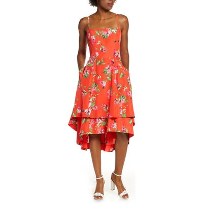 Vince Camuto Floral Tiered High/low Midi Sundress, Pink