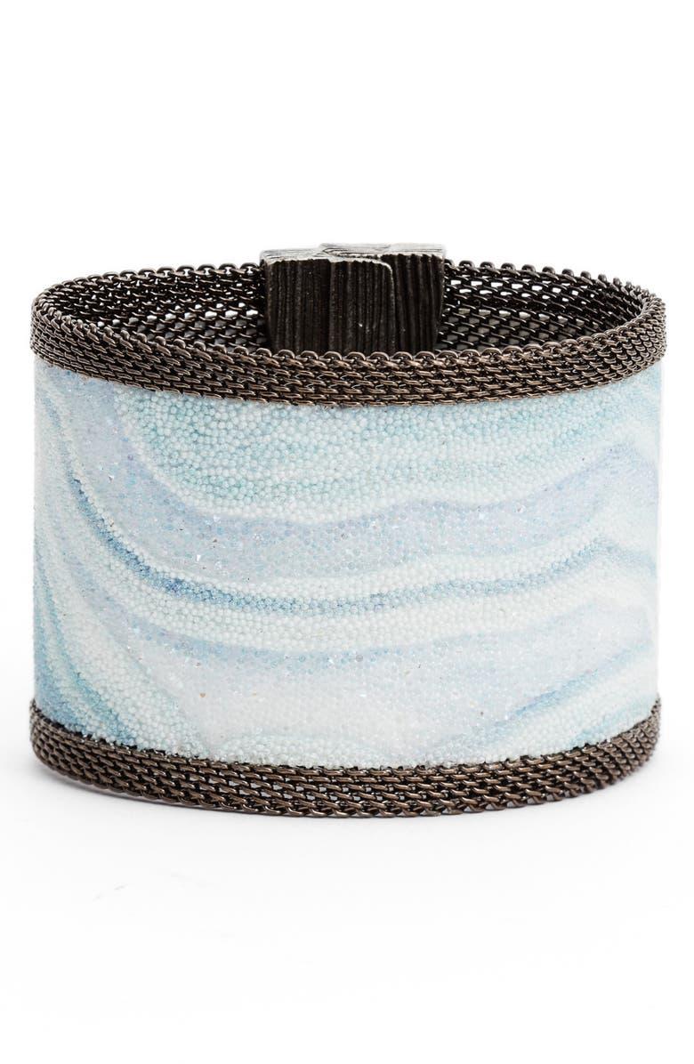 CYNTHIA DESSER Wide Swarovski Crystal Bracelet, Main, color, ICE BLU/ OFF WHT/ LAVENDER/GUN