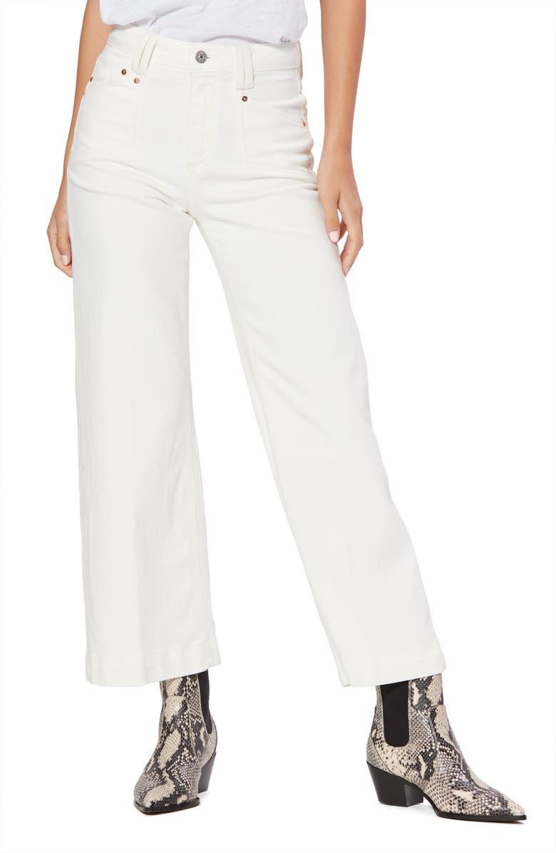 PAIGE Anessa High Waist Crop Wide Leg Jeans, Main, color, LIGHT ECRU