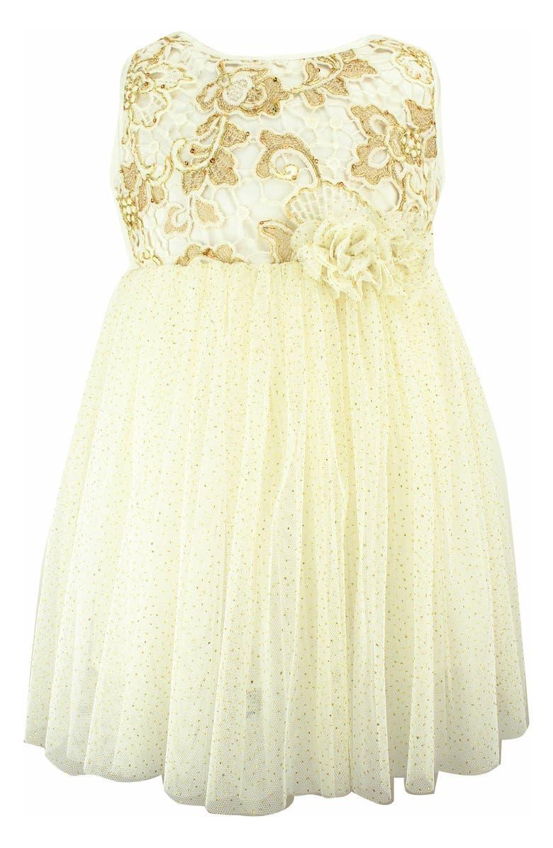 POPATU Golden Flower Tulle Dress, Main, color, GOLD