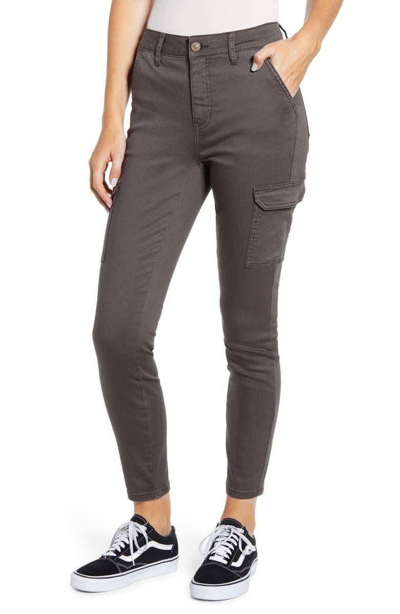 PROSPERITY DENIM High Waist Cargo Ankle Skinny Jeans, Main, color, ARMY GREEN