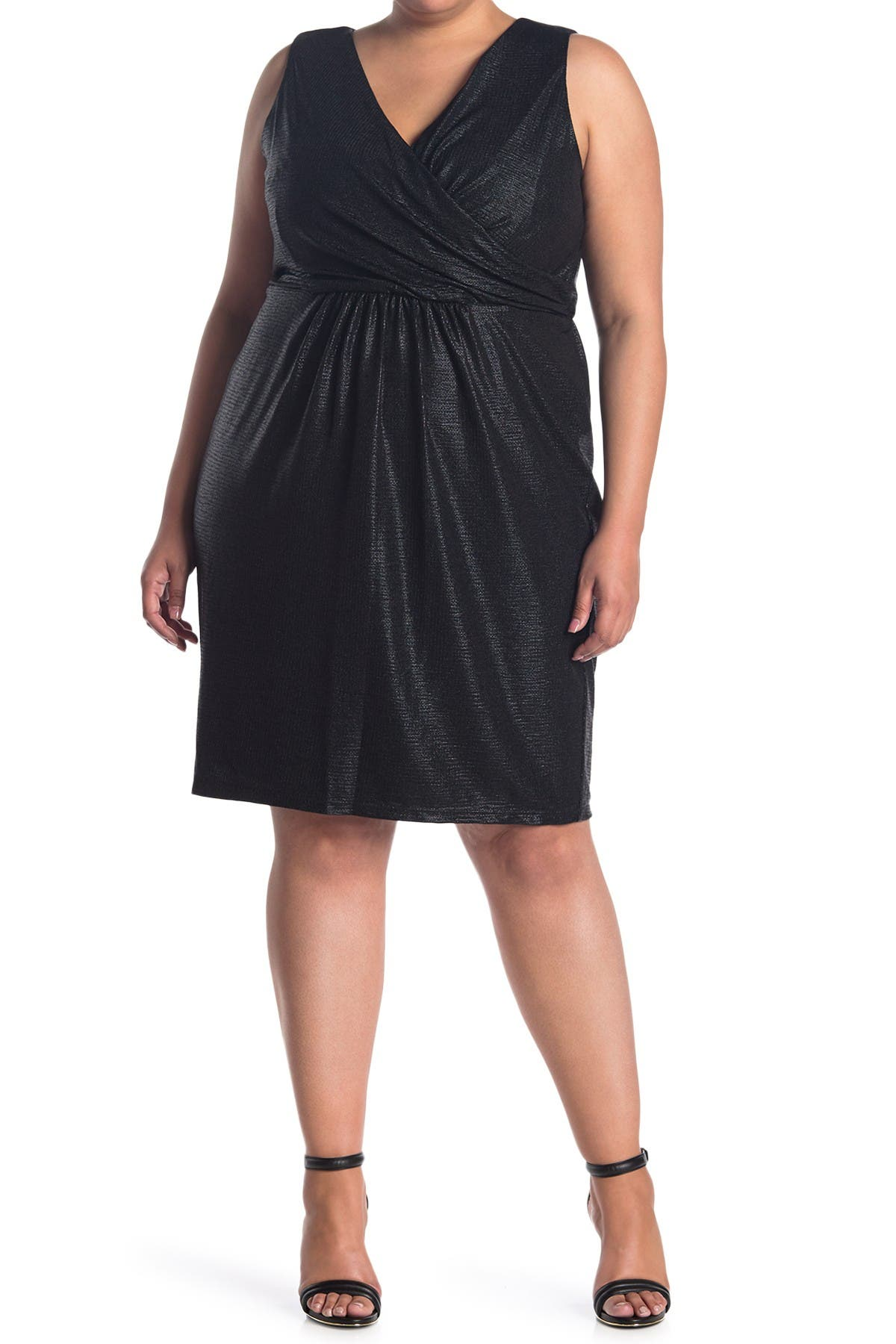 Image of Donna Ricco Surplice Sleeveless Metallic Dress