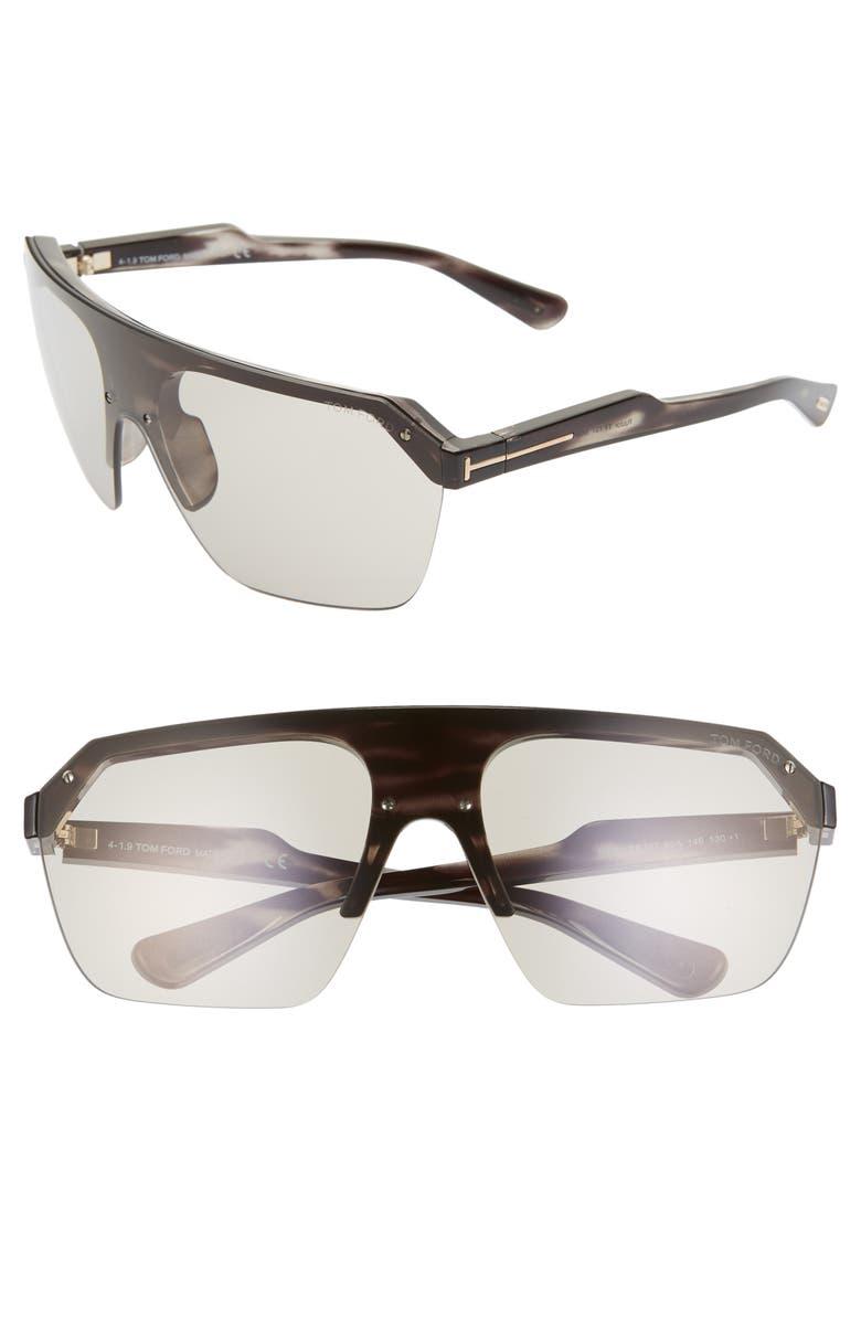 TOM FORD Razor 146mm Shield Sunglasses, Main, color, HAVANA/ OTHER/ SMOKE
