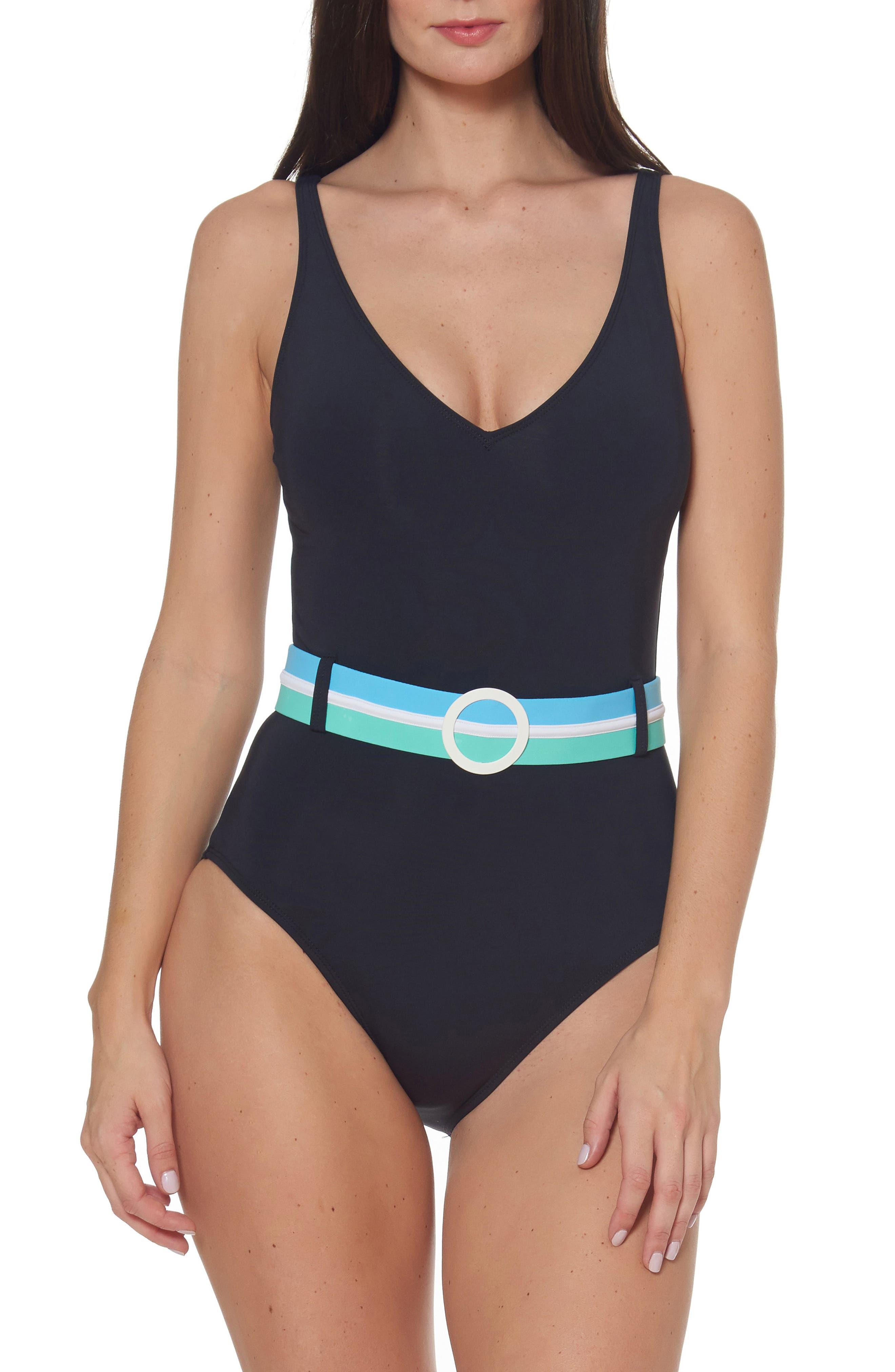 Bleu By Rod Beattie Belted One-Piece Swimsuit, Black