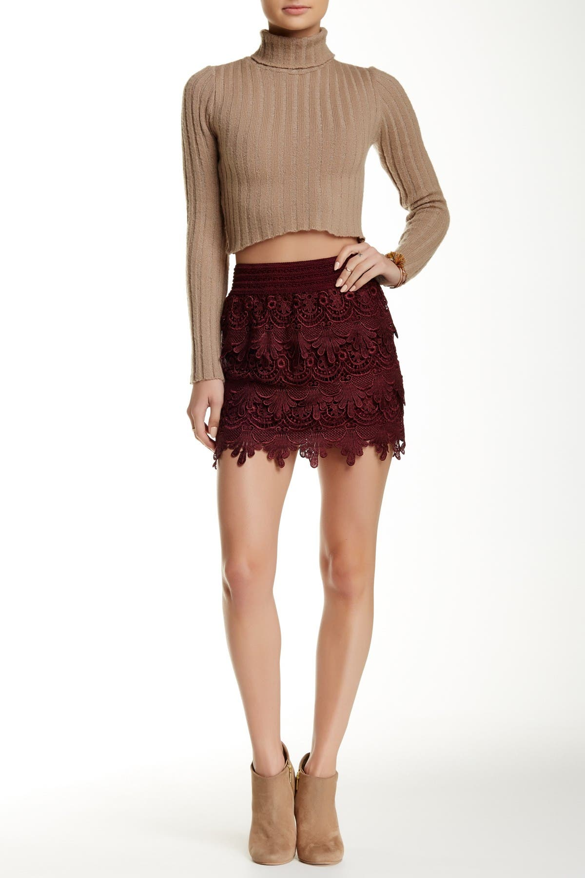 Image of Blu Pepper Tiered Lace Skirt