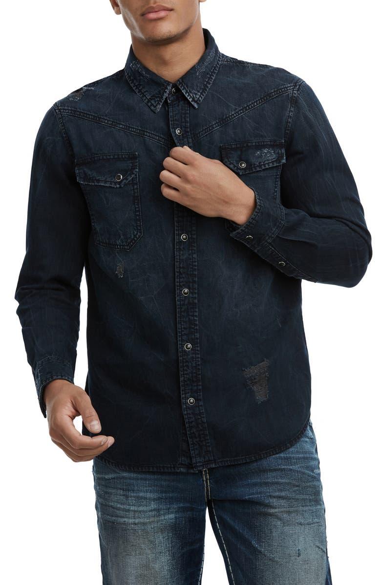TRUE RELIGION BRAND JEANS Carter Distressed Denim Shirt, Main, color, 401