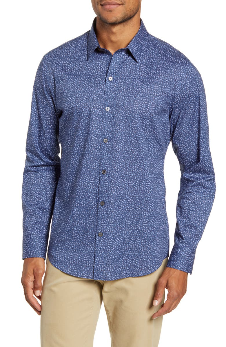 ZACHARY PRELL Nhien Regular Fit Print Button-Up Shirt, Main, color, DK TEAL