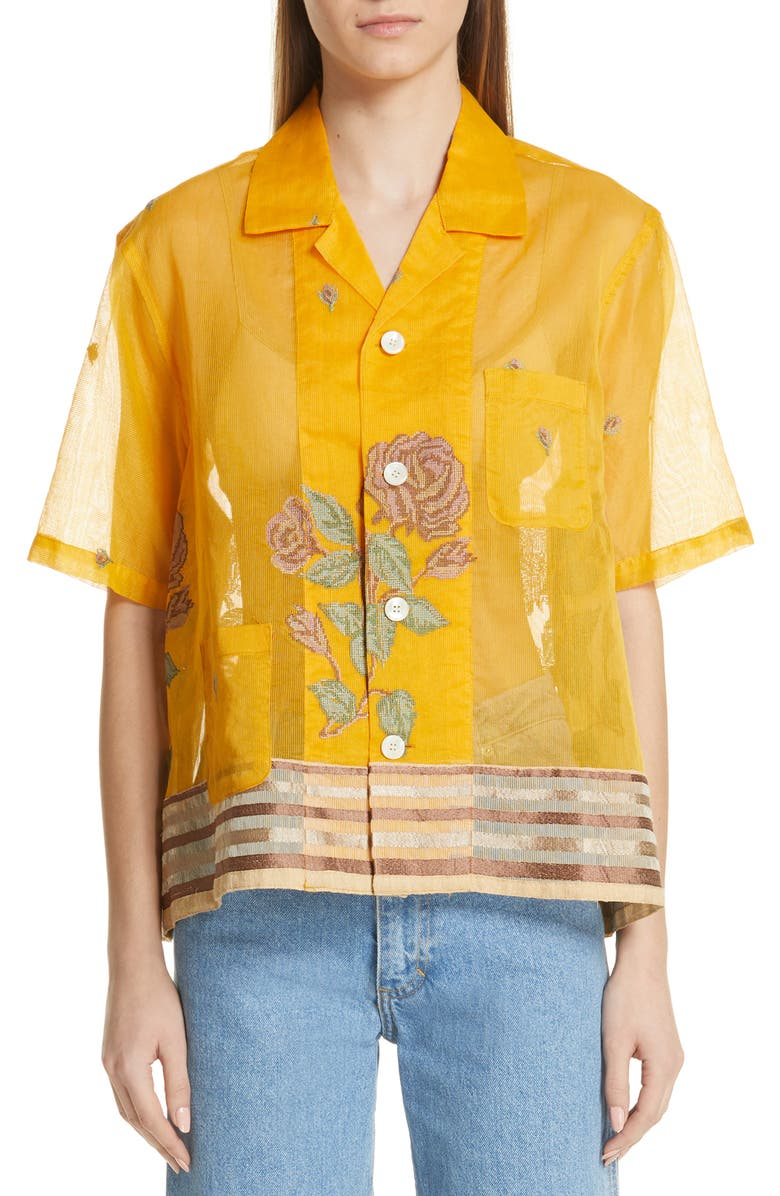 BODE Louie Dehli Flower Shirt, Main, color, YELLOW
