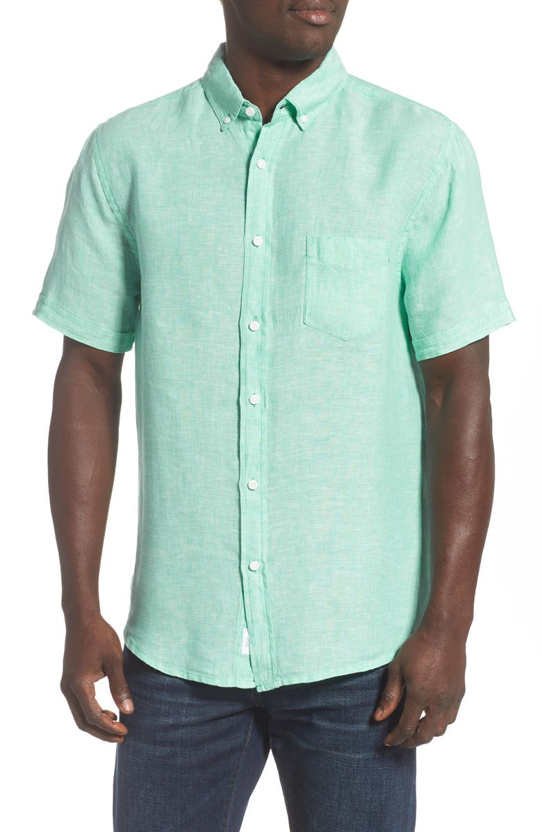 ONIA Jack Solid Short Sleeve Button-Down Linen Shirt, Main, color, BRIGHT MINT