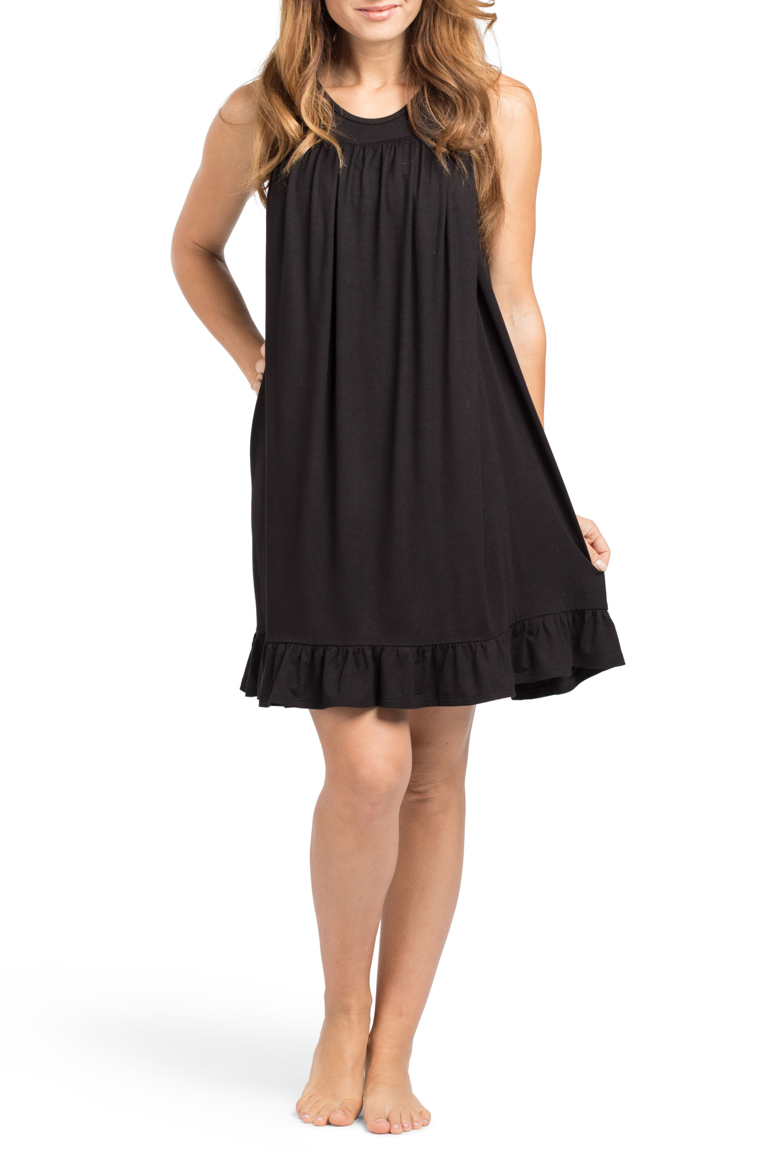 'The Ruffled' Sleeveless Maternity/Nursing Nightgown, Main, color, BLACK