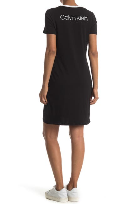 Image of Calvin Klein CK Logo Piped Shirt Dress