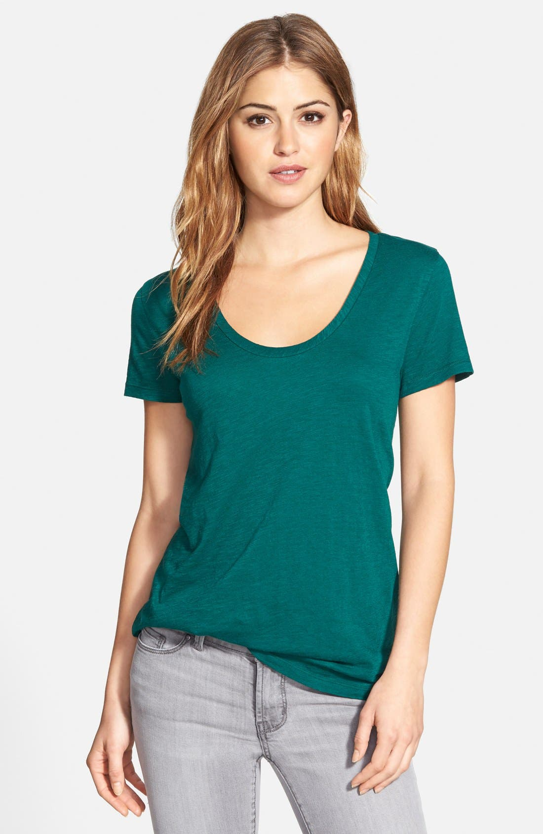 ,                             Relaxed Slub Knit U-Neck Tee,                             Main thumbnail 211, color,                             331