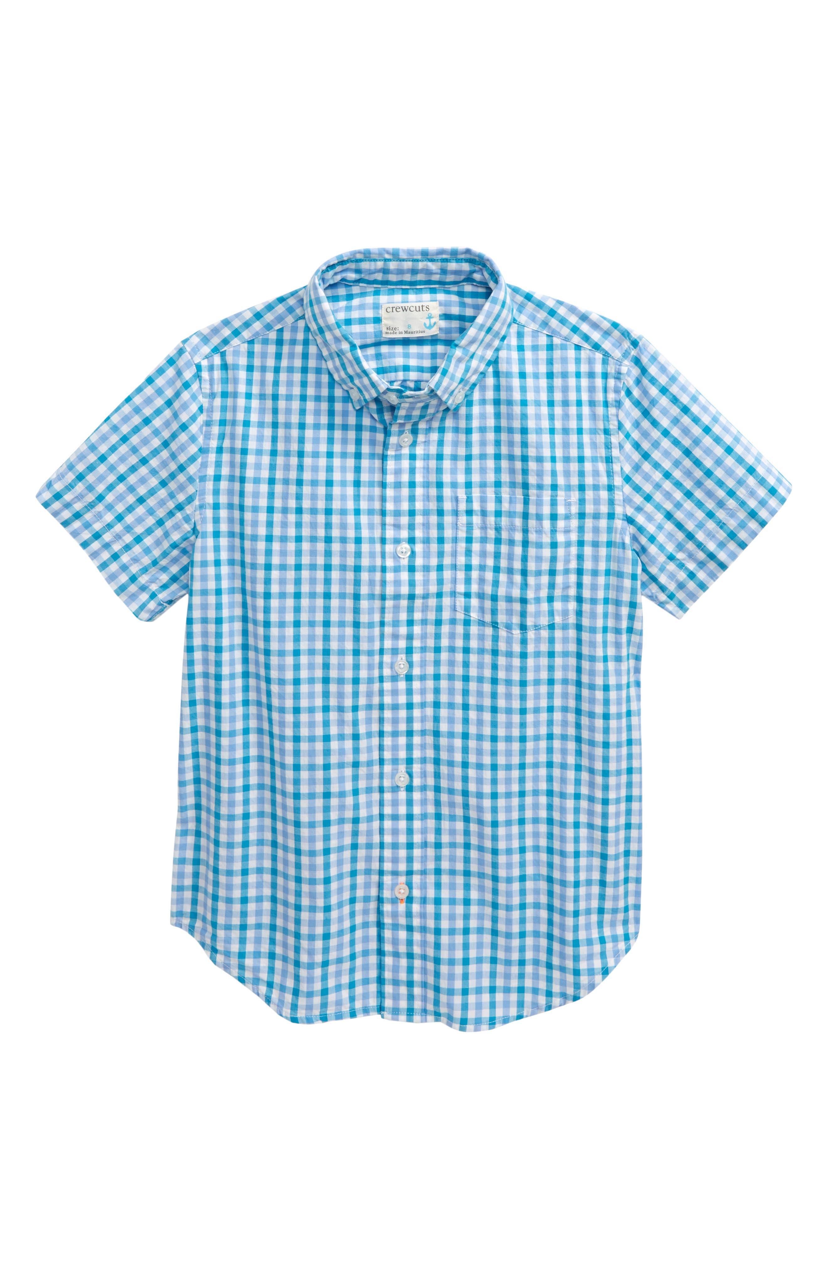 ,                             Gingham Button Down Shirt,                             Main thumbnail 1, color,                             BRIGHT AQUA