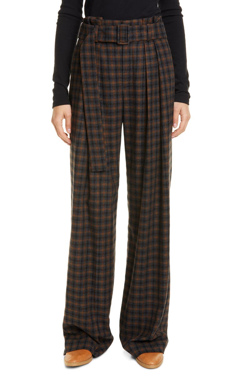 VINCE Belted Wide Leg Pants, Main, color, MAHOGANY PLAID