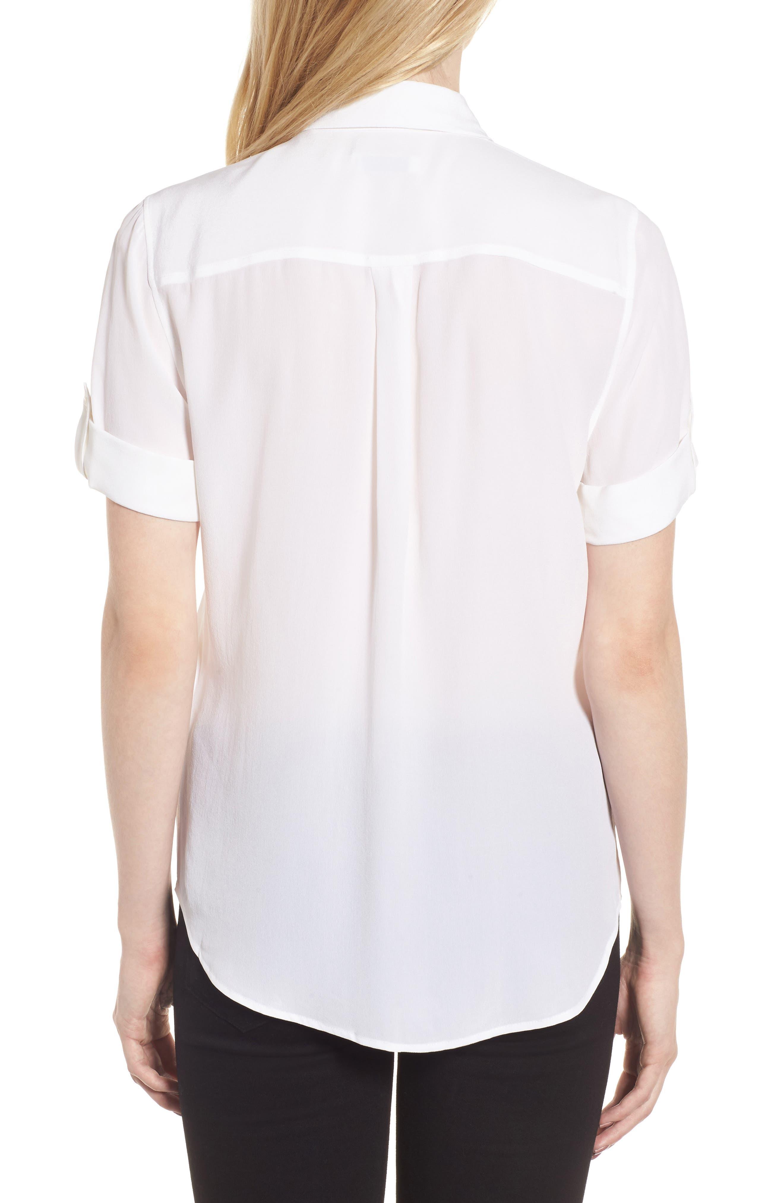 ,                             Slim Signature Short Sleeve Silk Shirt,                             Alternate thumbnail 2, color,                             BRIGHT WHITE
