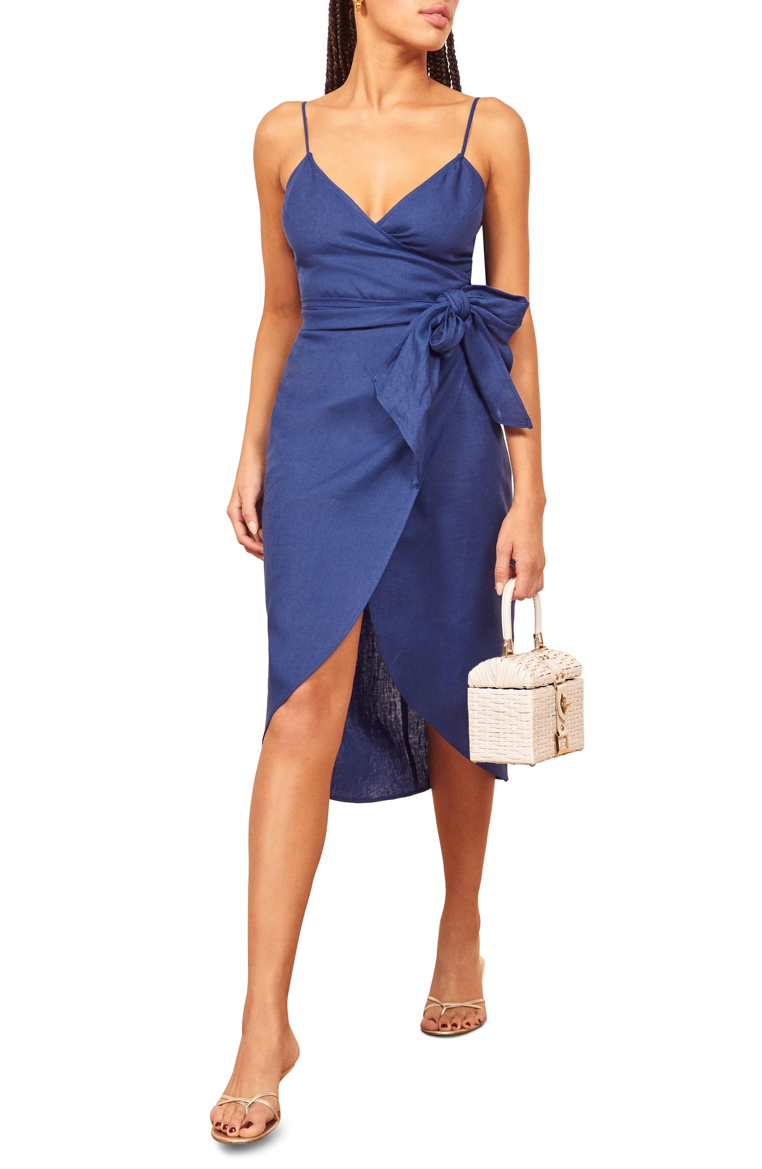 Reformation Court Linen Sundress, Blue