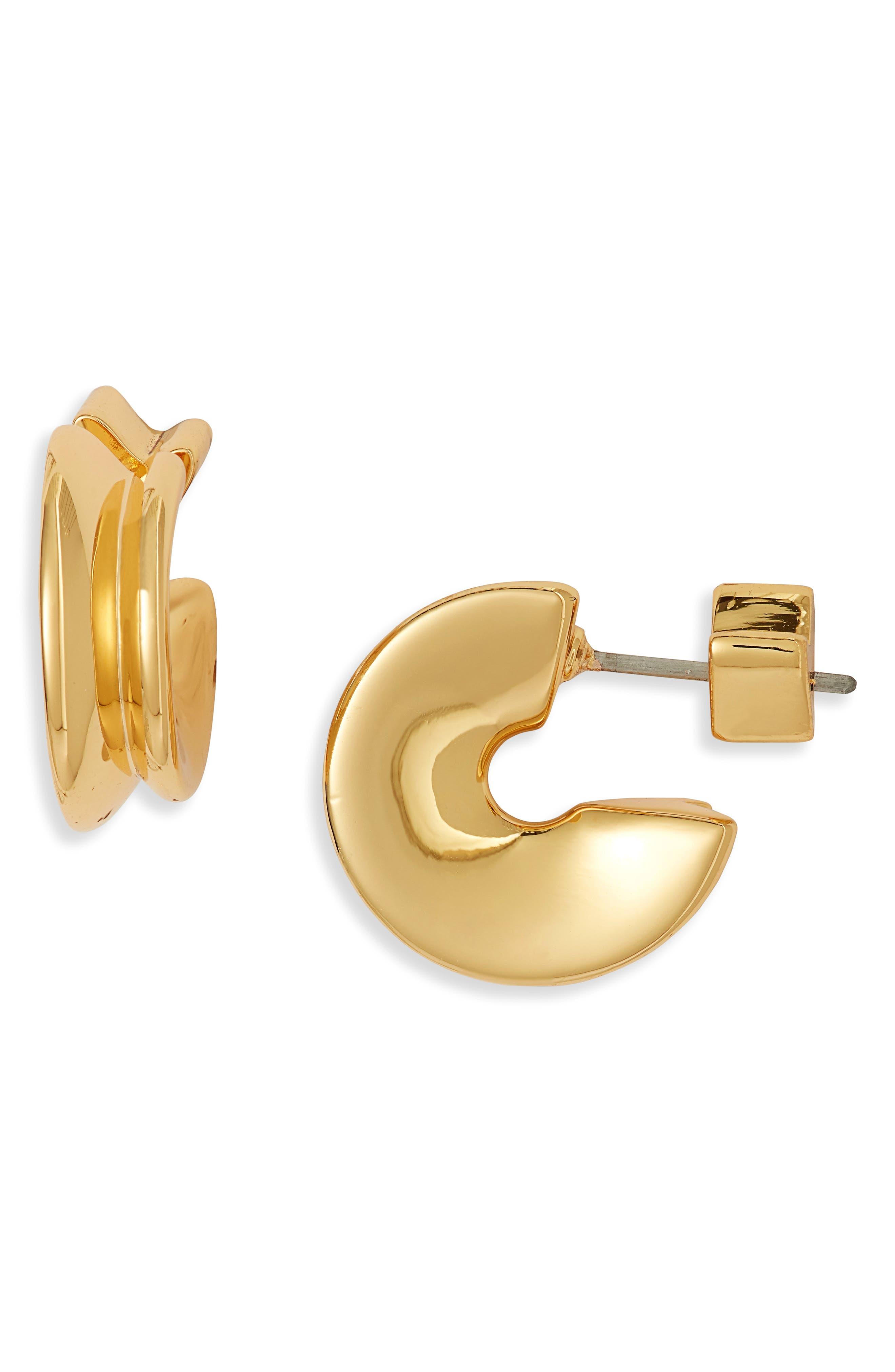 Hidden Heart Small Huggie Hoop Earrings