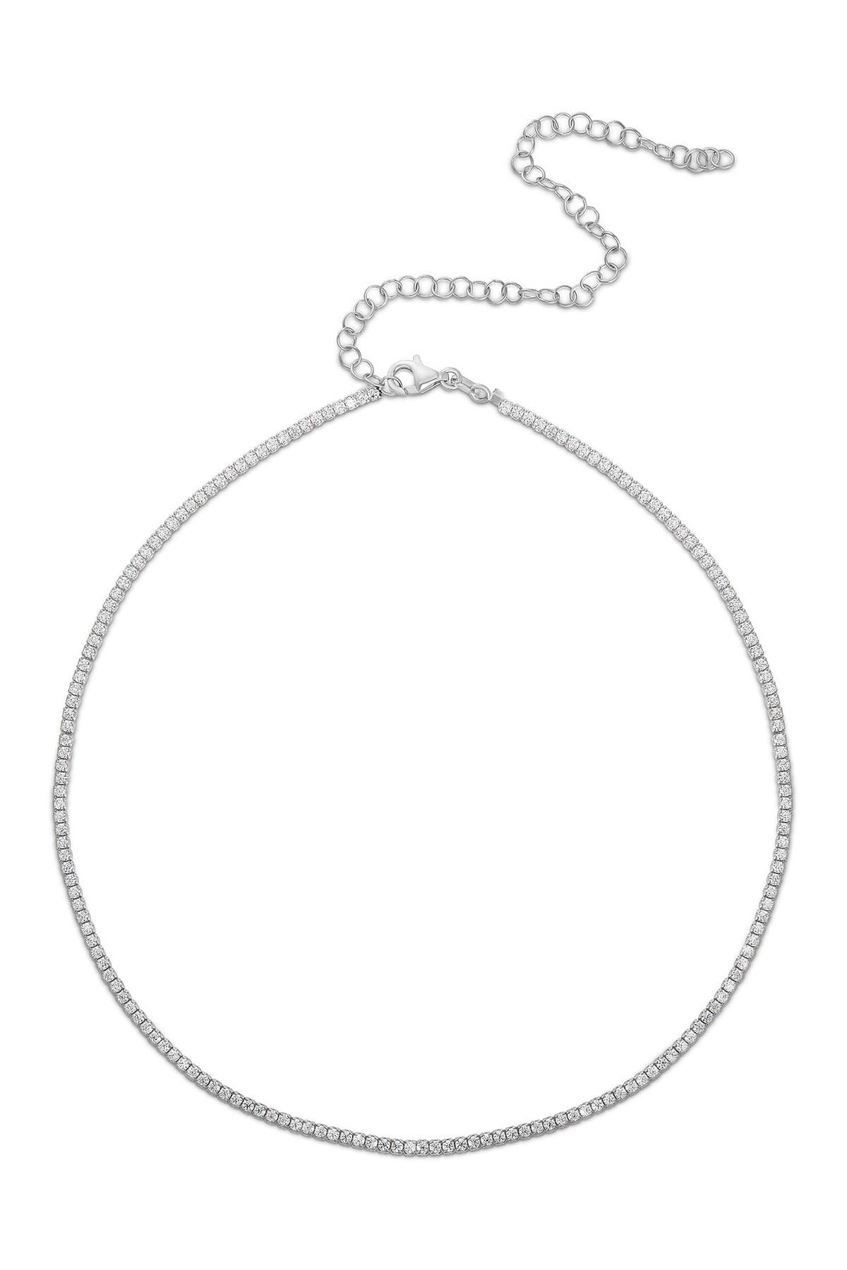 Sphera Milano 18K White Gold Plated Sterling Silver CZ Tennis Choker Necklace at Nordstrom Rack
