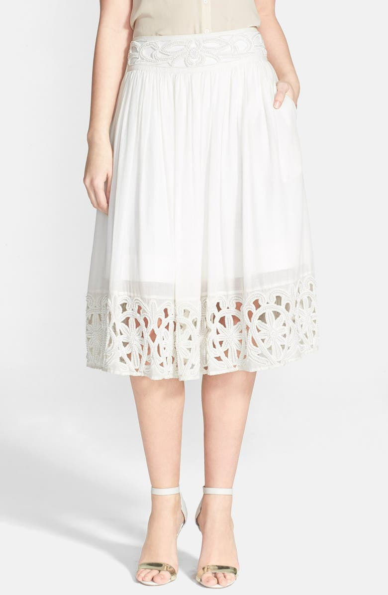 ALICE + OLIVIA 'Joanna' Embroidered Midi Skirt, Main, color, 100