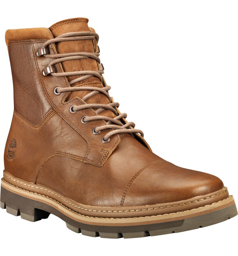 TIMBERLAND Port Union Waterproof Cap Toe Boot, Main, color, MD BROWN FULL GRAIN