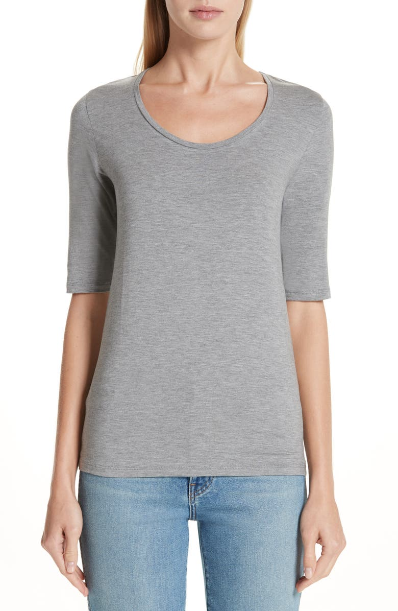 MAJESTIC FILATURES Soft Touch Elbow Sleeve Tee, Main, color, GREY