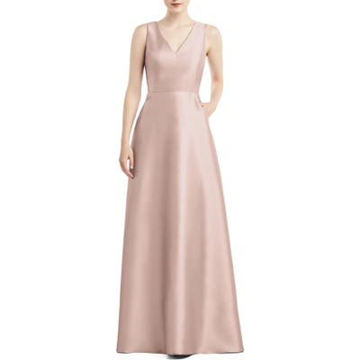 Alfred Sung V-Neck Satin A-Line Gown, Pink