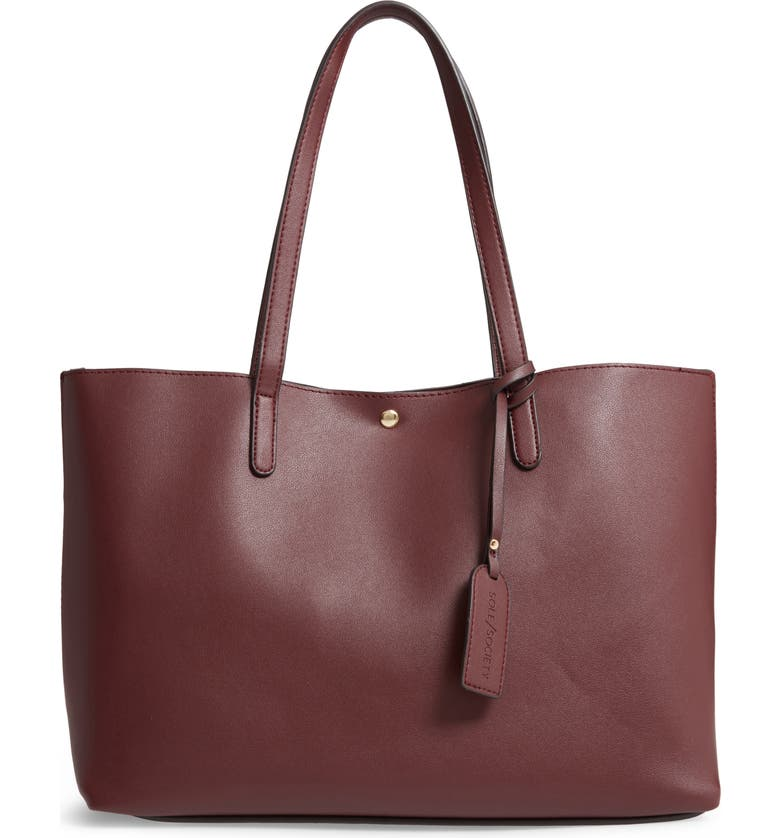 SOLE SOCIETY Zeda Faux Leather Tote, Main, color, OXBLOOD