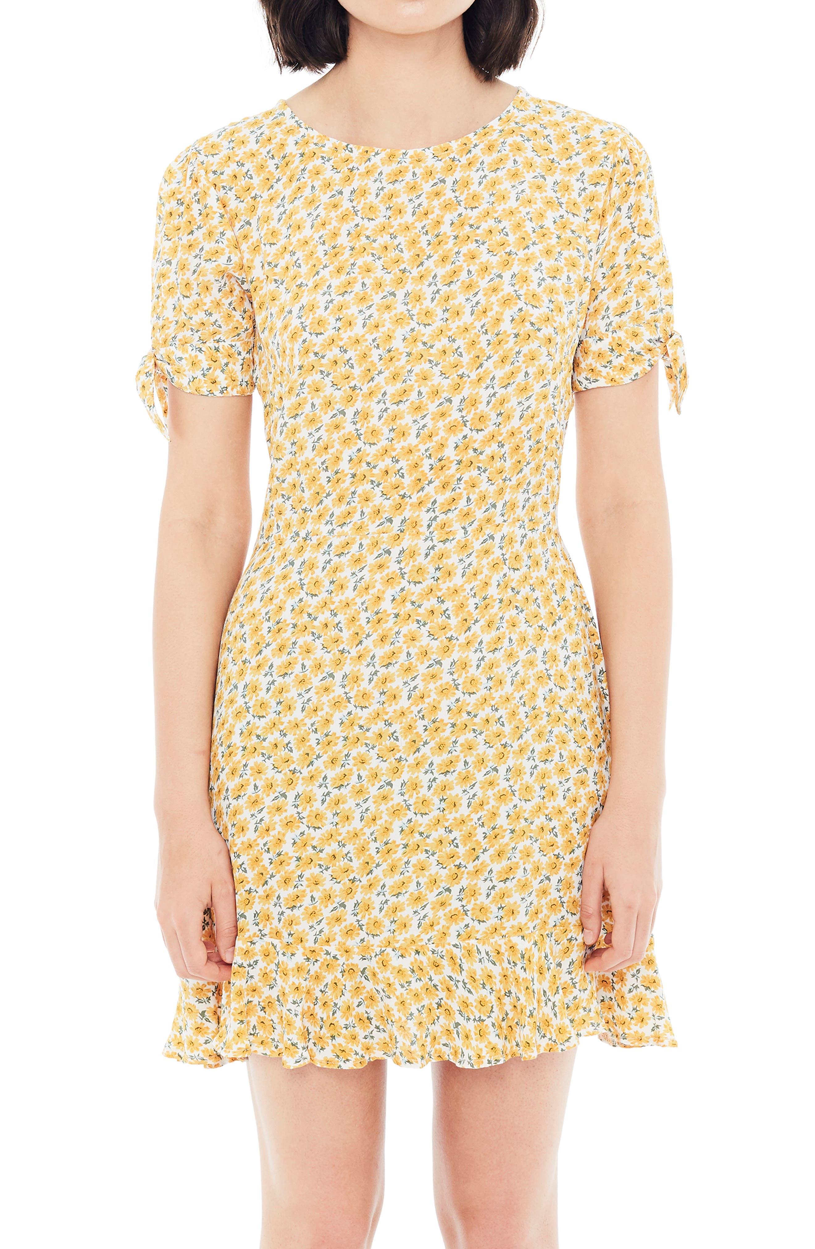 ,                             Daphne Tie Sleeve Minidress,                             Alternate thumbnail 5, color,                             MARGUERITE FLORAL - YELLOW