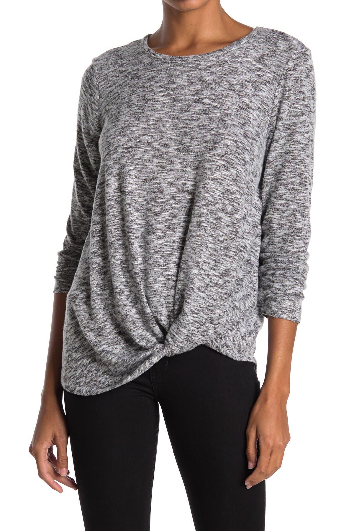 Image of Bobeau Twisted Hem Long Sleeve Shirt