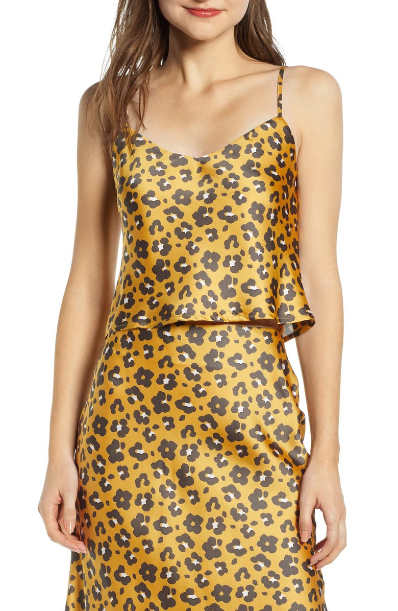 4SI3NNA Leopard Print Satin Crop Camisole, Main, color, 700