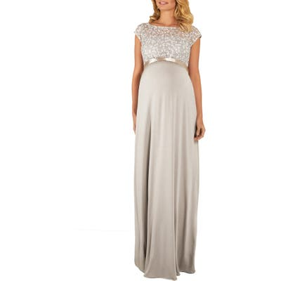 Tiffany Rose Mia Lace & Jersey Maternity Gown, Metallic
