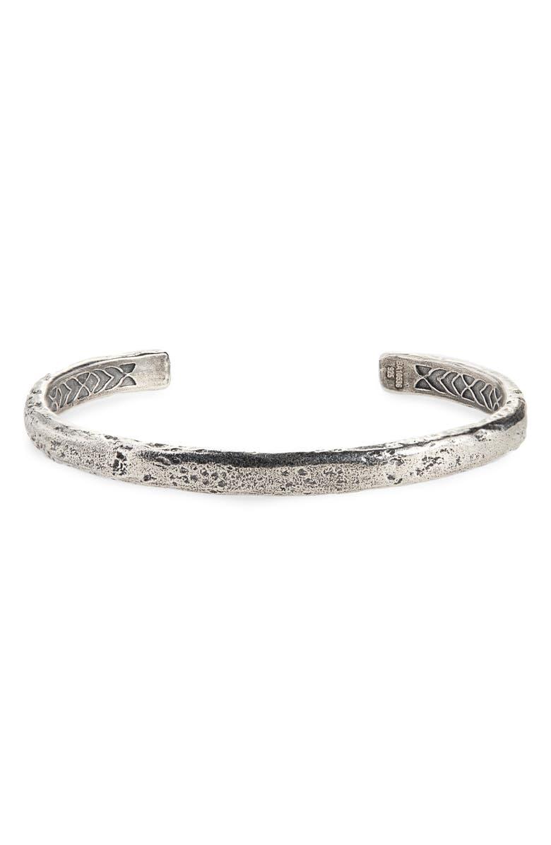 JOHN VARVATOS Silver Cuff Bracelet, Main, color, METALLIC SILVER