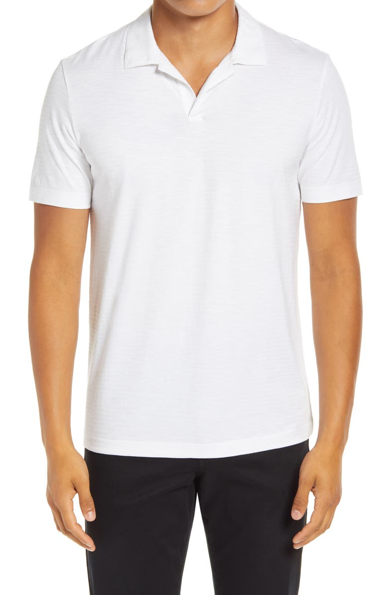 THEORY Willem Flame Short Sleeve Slub Jersey Polo, Main, color, WHITE