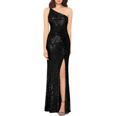 Xscape One Shoulder Sequin Evening Dress, Black