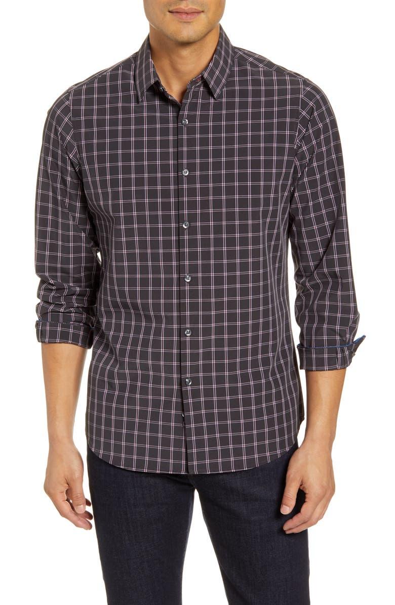 MOVE PERFORMANCE APPAREL Plaid Button-Up Shirt, Main, color, 025