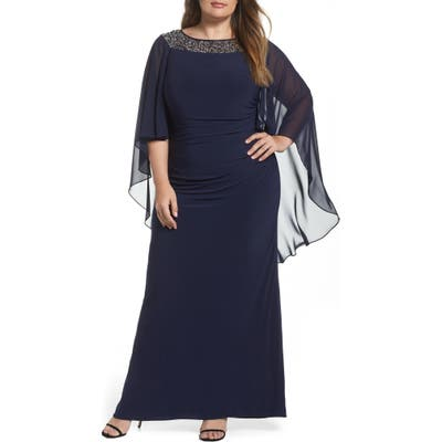 Plus Size Xscape Chiffon Cape Sleeve Beaded Neckline Gown