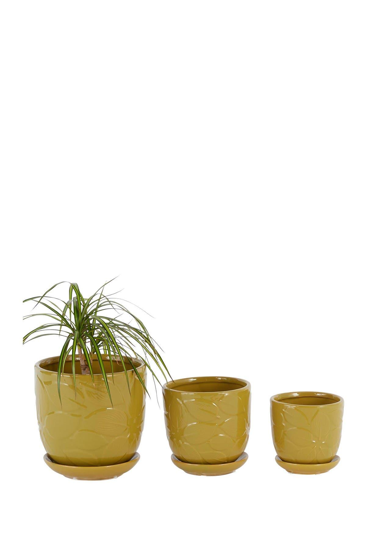 Image of VENUS WILLIAMS COLLECTION Round Gold Ceramic Planter w/ Saucer, 3-Piece Set