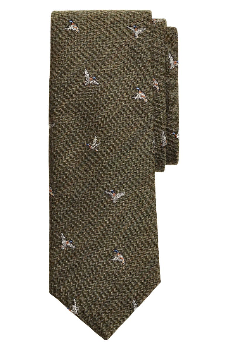BROOKS BROTHERS Chevron Geese Wool & Silk Tie, Main, color, GREEN